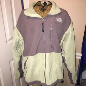 North Face  jacket  light green and grey